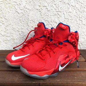 Nike Lebron XII 12 Youth White Red Blue Shoes